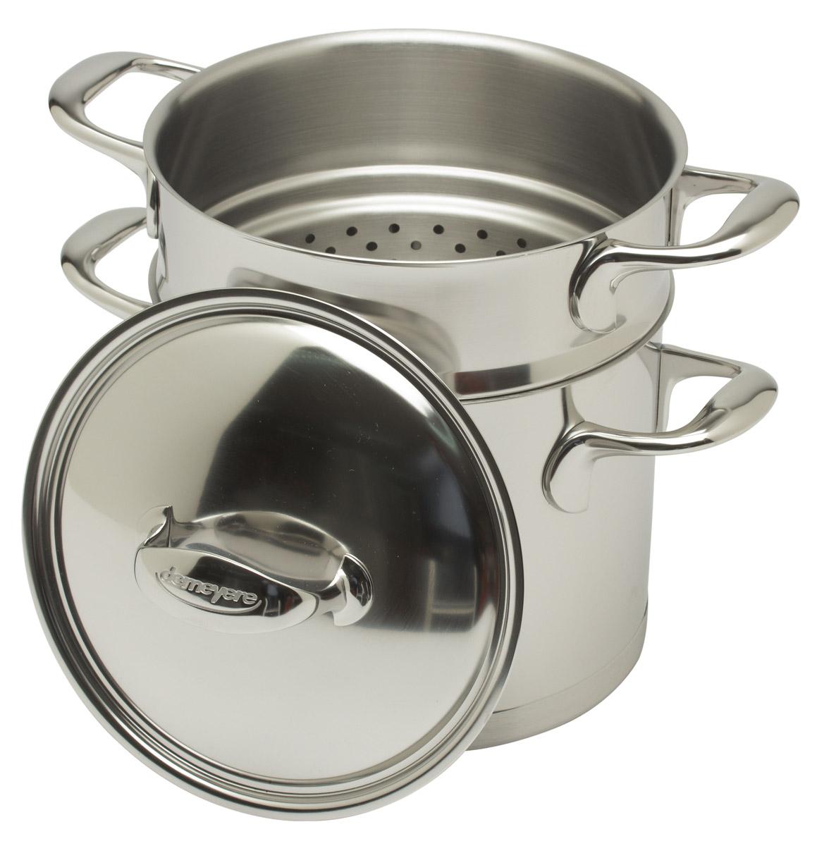 Demeyere Atlantis kookpan met pasta-inzet ø 20 cm rvs