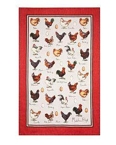 Ulster Weavers Chicken & Egg theedoek katoen rood