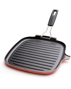 Le Creuset grillpan met inklapbare handgreep vierkant 27 x 26 cm gietijzer kersrood