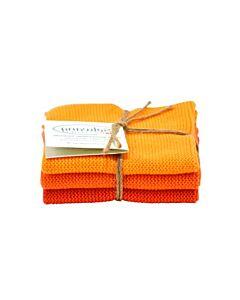 Solwang Design vaatdoekjes 25 x 25 cm katoen oranje/rood 3 stuks