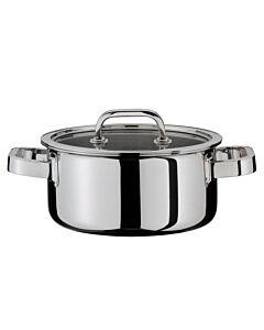 Spring Finesse lage kookpan met glasdeksel ø 16 cm rvs glans