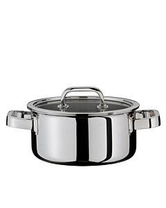 Spring Finesse lage kookpan met glasdeksel ø 20 cm rvs glans