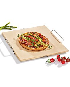 Küchenprofi pizzasteen met houder 35 x 38 cm keramiek beige