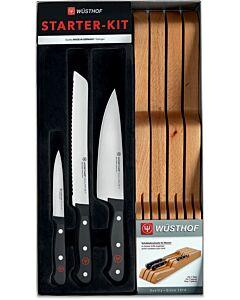 Wüsthof Gourmet Starter-Kit messenset met messenlegger 4-delig