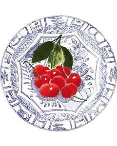 Gien Oiseau Bleu Fruits Cerises gebaksbord ø 16,5 cm keramiek