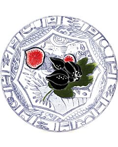 Gien Oiseau Bleu Fruits Figues gebaksbord ø 16,5 cm keramiek