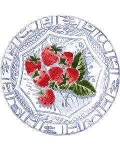 Gien Oiseau Bleu Fruits Fraises gebaksbord ø 16,5 cm keramiek