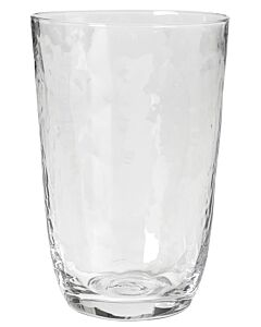 Broste Copenhagen Hammered tumbler 500 ml ø 9,2 cm h 13,5 cm glas transparant