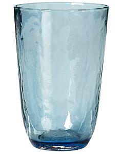 Broste Copenhagen Hammered tumbler 500 ml ø 9,2 cm h 13,5 cm glas blauw