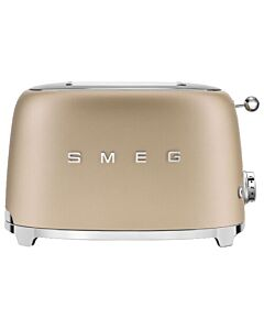 Smeg 50's style broodrooster 2 sleuven staal mat champagne