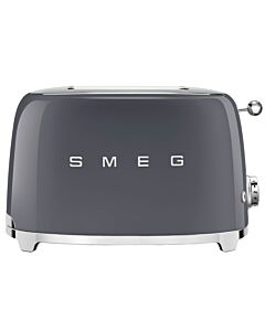 SMEG 50's style broodrooster 2 sleuven staal leigrijs