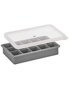Cilio Blocks ijsblokjesvorm met deksel 18,7 x 11,8 cm silicone grijs