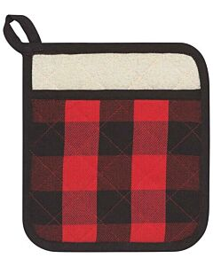 Now Designs Buffalo Check Superior pannenlap 20 x 20 cm katoen rood