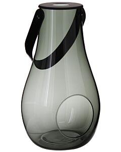 Holmegaard lantaarn smokey met leren hengsel 29 cm glas