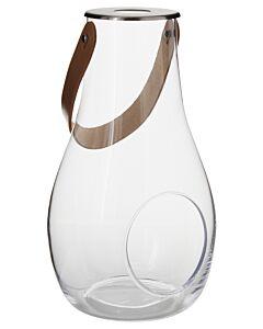 Holmegaard lantaarn helder met leren hengsel 29,3 cm glas
