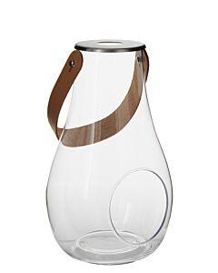 Holmegaard lantaarn helder met leren hengsel 24,8 cm glas