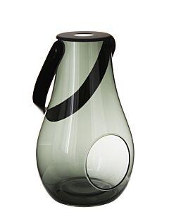 Holmegaard lantaarn smokey met leren hengsel 25 cm glas