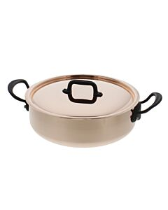 Mauviel M'250C² braadpan met deksel ø 28 cm koper met zwart stalen greep