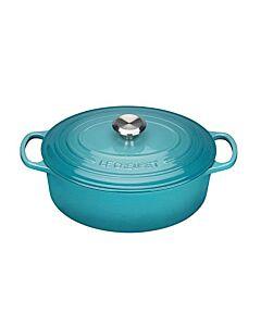 Le Creuset Signature braadpan ovaal 6,3 liter ø 31 cm gietijzer Caribbean blue