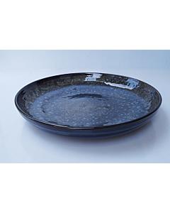 Oldenhof 1821 serveerbord ø 35 cm aardewerk spikkelblauw