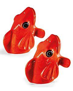 Donkey Koi vissen peper en zoutset aardewerk rood