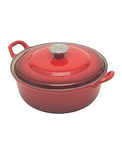 Le Creuset faitout braadpan met plaatstalen deksel 2,4 liter ø 24 cm gietijzer rood