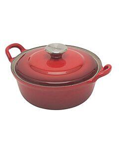 Le Creuset faitout braadpan met plaatstalen deksel 1,3 liter ø 20 cm gietijzer rood