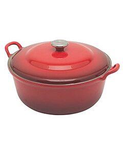 Le Creuset faitout braadpan met plaatstalen deksel 6,6 liter ø 32 cm gietijzer rood
