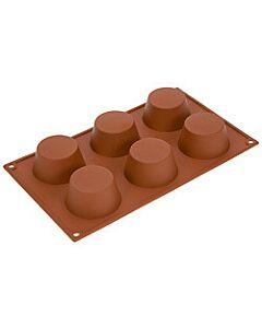 Silikomart bakvorm 6 muffins ø 6,9 cm silicone bruin