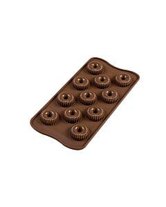 Silikomart 3D EasyChoc Choco Crown bonbonvorm silicone bruin