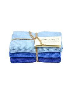 Solwang Design vaatdoekjes 25 x 25 cm katoen helder blauw 3 stuks