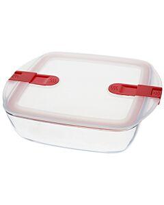Pyrex Cook & Heat vierkante ovenschaal met deksel 2.2 L glas
