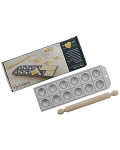 Oldenhof ravioliplaat 12 stuks rond 52 mm x 52 mm aluminium met deegroller in geschenkverpakking