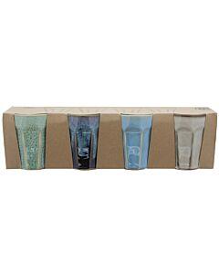 Kitchen Trend cappuccinobeker 250 ml aardewerk blauw set van 4