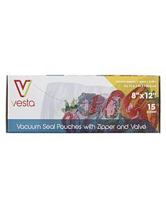 Vesta vacuümzakken met zipsluiting en ventiel 20,3 x 30,5 cm 15 stuks