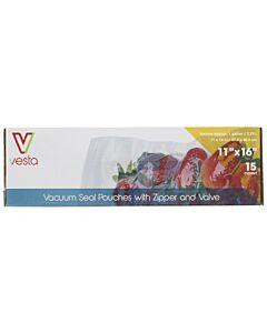 Vesta vacuümzakken met zipsluiting en ventiel 27,9 x 40,6 cm 15 stuks