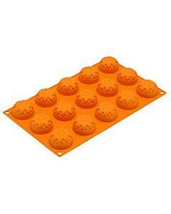 Silikomart bakvorm 15 zonnenbloemen silicone oranje