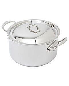Mauviel M'Cook kookpan met deksel rond 24 cm rvs glans