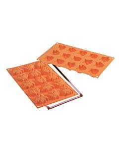 Silikomart bakmat 8 Mini Fairy Owls silicone oranje in giftbox