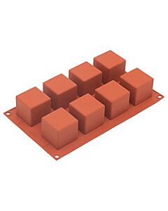 Silikomart bakvorm 8 kubussen 5 cm silicone bruin
