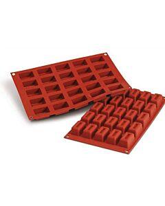Silikomart bakmat 24 rechthoeken met rand 4,1 x 2,3 cm silicone bruin