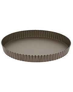 Gobel quichevorm met uitneembare bodem laag ø 32 cm staal bruin