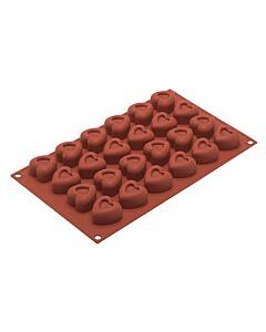 Silikomart bakvorm 24 hartvormige savarins 3,4 cm silicone bruin