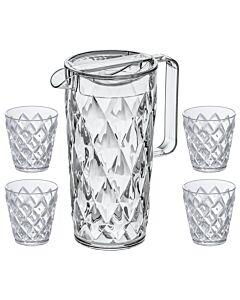 Koziol Crystal karaf 1,6 liter met 4 tumblers transparant