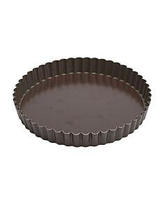 Gobel quichevorm met uitneembare bodem laag ø 20 cm staal bruin