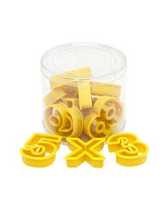 Fat Daddio's uitsteekvorm cijfers en rekenen kunststof geel 15-delig