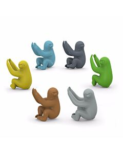 Fred Social Climbers Sloths glasmarkerset 6 delen silicone