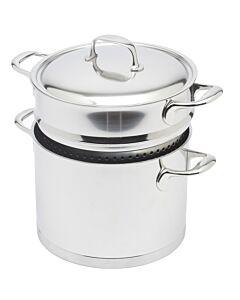 Demeyere Atlantis kookpan met pasta-inzet ø 24 cm rvs