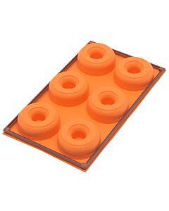 Silikomart Fancy & Function 6 Donuts bakvorm 30 cm silicone oranje