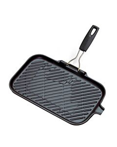 Le Creuset grillpan met inklapbare handgreep rechthoek 36 x 20,5 cm gietijzer zwart